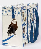Birdland Shoulder Tote Bag in White and Blue Recycled Material