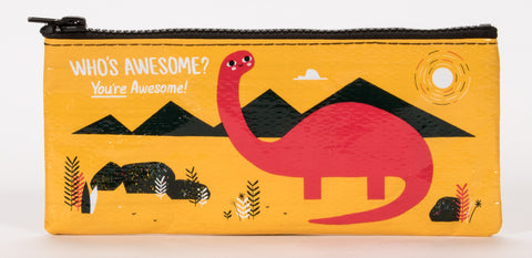 Who's Awesome? You're Awesome! Pencil Case in Mustard with Dinosaur