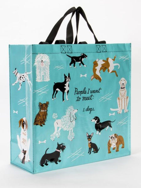 People I'd Like To Meet: Dogs Shopper Bag in Teal Blue