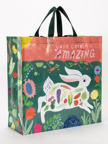 Your Garden Is Amazing Shopper Bag with Floral and Veggies White Bunny