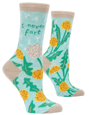 I Never Fart Women's Crew Socks, Hipster/Nerdy/Geeky/Trendy, Colorful Floral Funny Novelty Socks with Cool Design, Bold/Crazy/Unique Quirky Dress Socks
