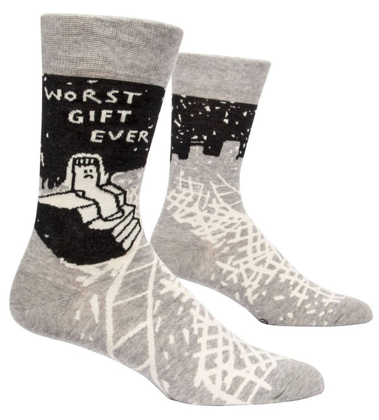 Worst Gift Ever Men's Crew Socks, Hipster/Nerdy/Geeky/Trendy, Black Gray Funny Novelty Socks with Cool Design, Bold/Crazy/Unique Quirky Dress Socks