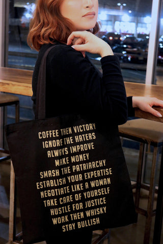 (Wo)manifesto Tote Bag in Black and Gold Glitter
