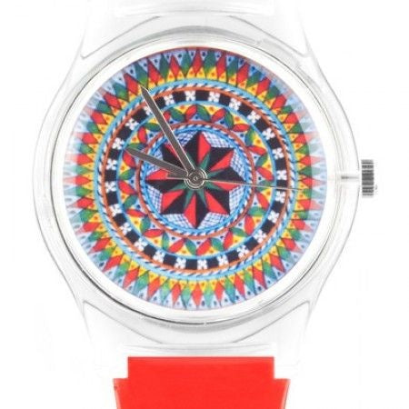 Colorful Kaleidoscope Design Watch in Red