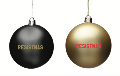 resistmas holiday christmas ornament in gold and black 2 pack or 6 pack