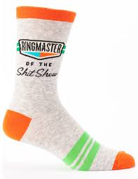 Ringmaster of the Shitshow Men's Socks in Orange and Green