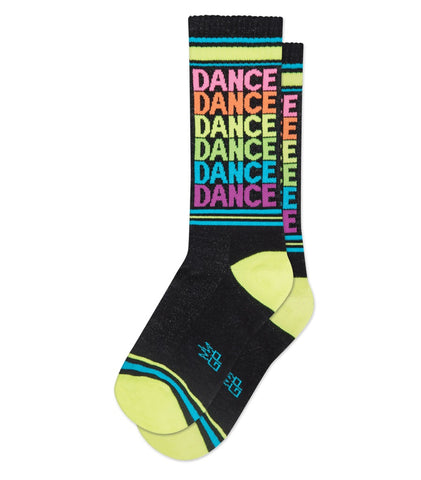 Dance Ribbed Gym Socks in Neon Rainbow and Black