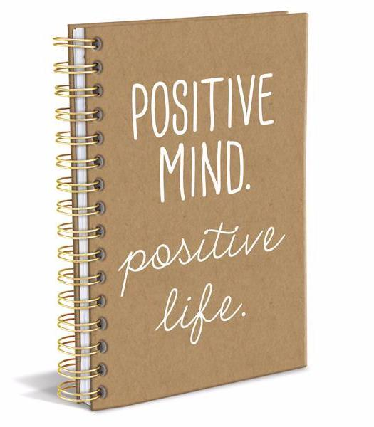 Positive Mind Positive Life Hard Bound Journal in Brown and White