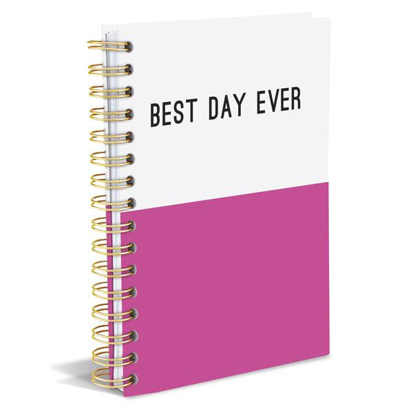 BEST DAY EVER Dipped Hard Cover Journal in Pink and White