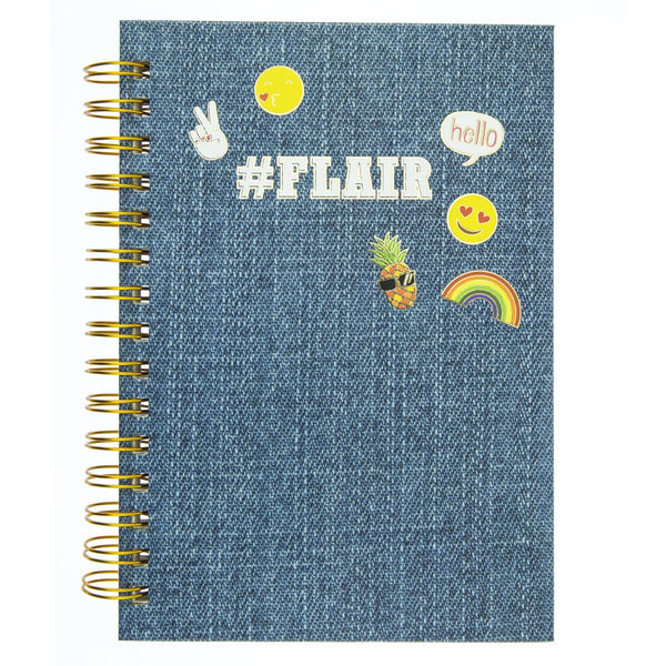 My Flair Hard Cover Journal with Pineapple, Rainbow and Peace Icons