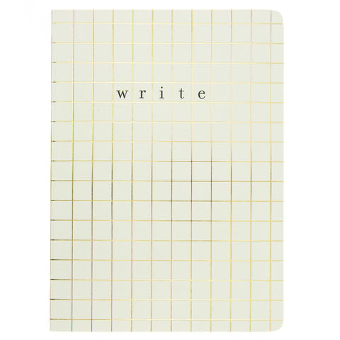 Write Grid Lines Soft Cover Journal in Metallic Gold Foil