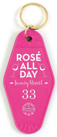Rosé All Day Motel Style Keychain in Pink