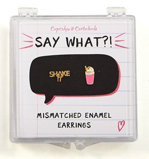 Mismatched Pun Earrings in Gift Box | Do-Nut Care, Super Star, or Shake It