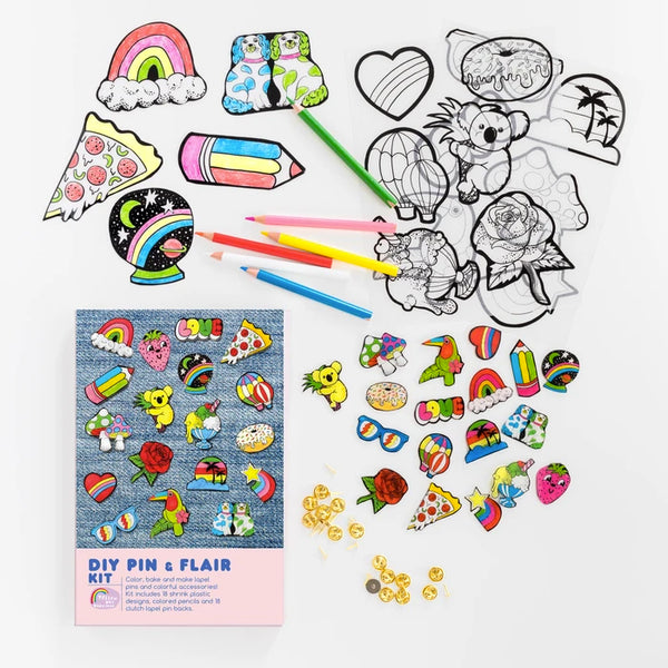 DIY Pin & Flair Kit | Shrink Plastic Kit for Making 18 Different DIY Lapel Pins