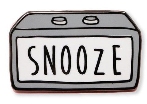 Snooze Enamel Pin with Silver Detailing
