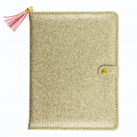Gold Glitter Love Snap Journal with Pink Tassel Charm