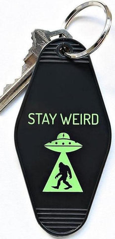 Stay Weird UFO Alien Keychain in Black