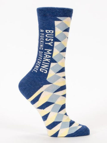 Busy Making A Fucking Difference Women's Power Crew Socks Hipster/Nerdy/Geeky/Trendy, Blue Novelty Socks with Cool Design, Bold/Crazy/Unique Pattern Dress Socks