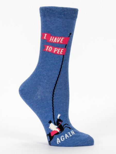 I Have to Pee...Again Women's Crew Socks, Hipster/Nerdy/Geeky/Trendy, Pink Blue Funny Novelty Socks with Cool Design, Bold/Crazy/Unique Quirky Dress Socks