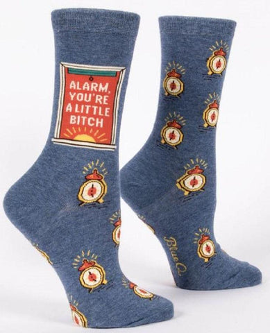 Alarm, You're A Little Bitch Women's Crew Socks in Blue