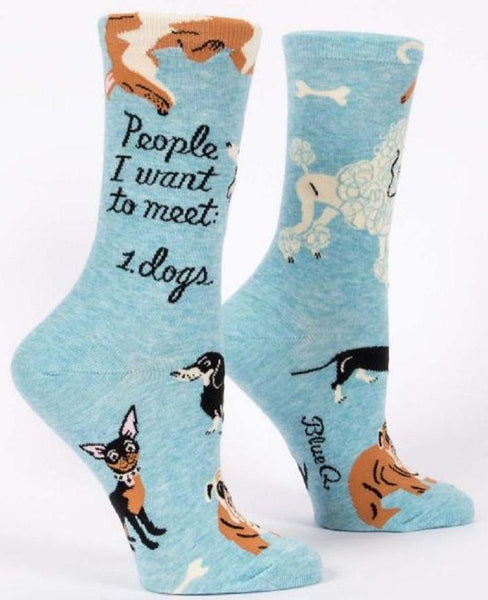 People To Meet Dogs Women's Specialty Crew Socks in Blue Hipster/Nerdy/Geeky/Trendy/Teen, Funny Novelty Socks with Cool Design, Bold/Crazy/Unique Dress Socks