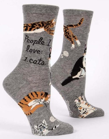 People I Love Cats Women's Crew Socks in Grey
