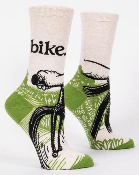 Bike Path Women's Specialty Crew Socks Hipster/Nerdy/Geeky/Trendy, Funny Novelty Socks with Cool Design, Bold/Crazy/Unique Green Dress Socks