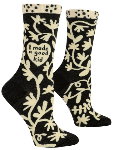 I Made A Good Kid Women's Crew Novelty Socks in Black and White with Cool Design, Bold/Crazy/Unique Specialty Dress Socks