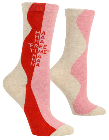 Free Time Ha Ha Ha Women's Crew Novelty Socks in Red and Pink with Cool Design, Bold/Crazy/Unique Specialty Dress Socks