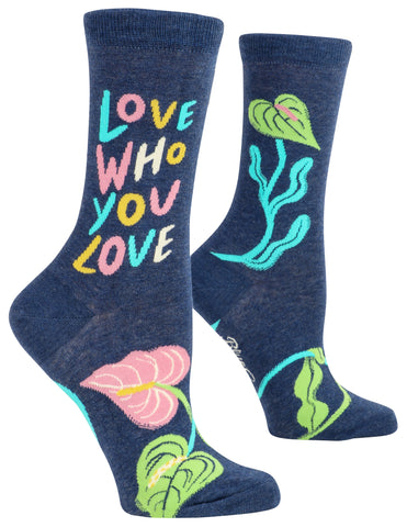 Love Who You Love Crew Novelty Socks with Cool Design, Bold/Crazy/Unique Specialty Dress Socks