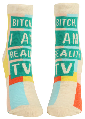 Bitch I Am Reality TV Women's Ankle Socks, Hipster/Nerdy/Geeky/Trendy, Novelty Socks with Cool Design, Bold/Crazy/Unique Half Dress Socks