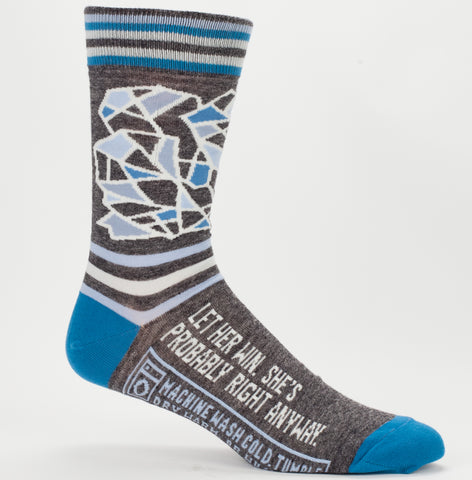 Let Her Win, She's Probably Right Anyway Men's Crew Socks, Hipster/Nerdy/Geeky/Trendy, Funny Novelty Socks with Cool Design, Bold/Crazy/Unique Specialty Dress Socks