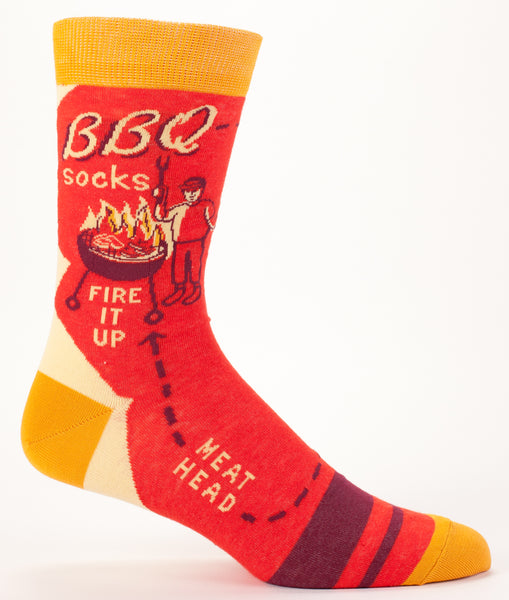 BBQ Men's Cool Crew Socks Hipster/Trendy, Red Colorful Novelty Socks with Cool Design, Bold/Crazy/Unique Dress Socks