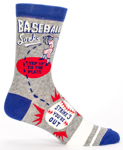 Baseball Men's Crew Socks Step Up to the Plate, Hipster/Nerdy/Geeky/Trendy, Quirky Novelty Socks with Cool Design, Bold/Crazy/Unique Dress Socks