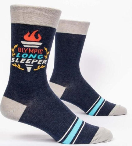 Olympic Long Sleeper Men's Crew Socks, Hipster/Nerdy/Geeky/Trendy, Funny Novelty Socks with Cool Design, Bold/Crazy/Unique Specialty Dress Socks