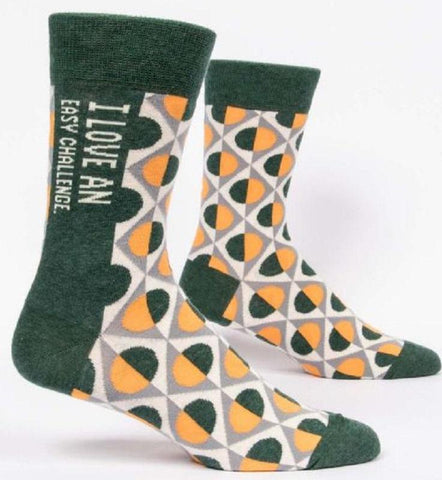 I Love An Easy Challenge Men's Business Crew Socks Hipster/Nerdy/Geeky/Trendy, Funny Novelty Socks with Cool Design, Bold/Crazy/Unique Pattern Dress Socks