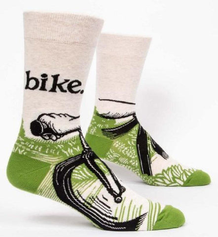 Bike Path Men's Crew Socks in Green and White