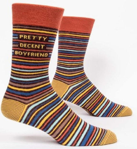 Pretty Decent Boyfriend Men's Crew Socks, Hipster/Nerdy/Geeky/Trendy, Colorful Funny Novelty Socks with Cool Design, Bold/Crazy/Unique Specialty Dress Socks