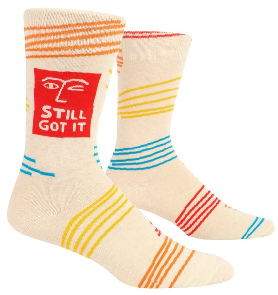 Still Got It Men's Crew Socks, Hipster/Nerdy/Geeky/Trendy, Funny Novelty Socks with Cool Design, Bold/Crazy/Unique Specialty Dress Socks