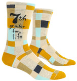7th Grader For Life Men's Crew Socks, Hipster/Nerdy/Geeky/Trendy, Funny Novelty Socks with Cool Design, Bold/Crazy/Unique Specialty Dress Socks