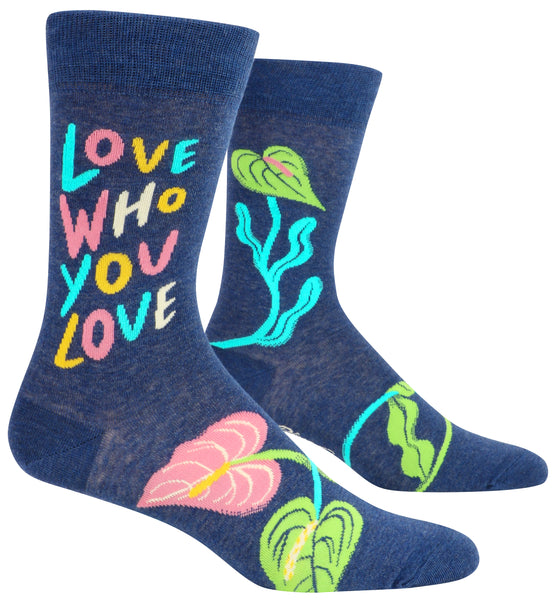 Love Who You Love Men's Crew Socks, Hipster/Nerdy/Geeky/Trendy, Funny Novelty Socks with Cool Design, Bold/Crazy/Unique Specialty Dress Socks
