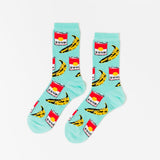 Pop Art Women's Crew Socks in Soup and Banana Designs