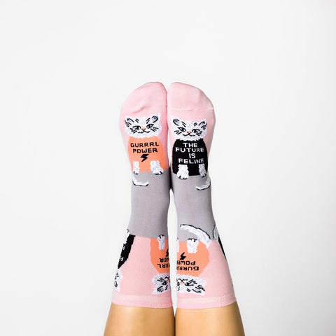 Gurrrl Power...Future is Feline Women's Crew Socks in Pink and Grey