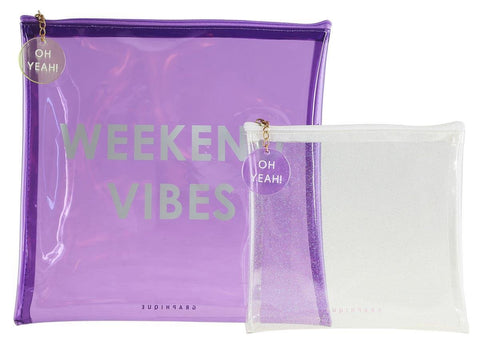 Weekend Vibes Lavender Large Square Pouch Set