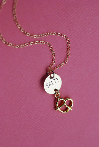 The Betty Collection: Salty Pretzel Necklace in Gold