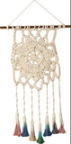 Macrame Small Dip Dye Multicolor Hanging Decor in Flower Design