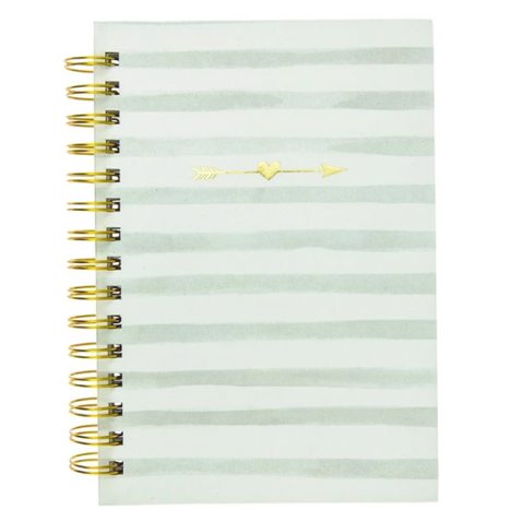 Stripes and Arrows Hard Bound Journal in Gray and White | Gold Accents | 160 Ruled Pages