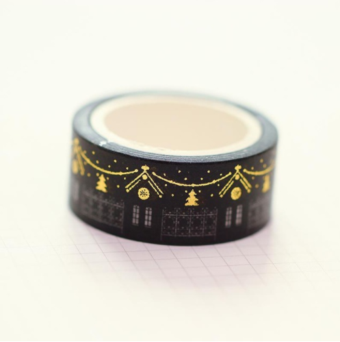 Black Winter Village Washi Tape with Metallic Gold Accents