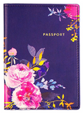 Navy Floral Passport Case with Gold Text
