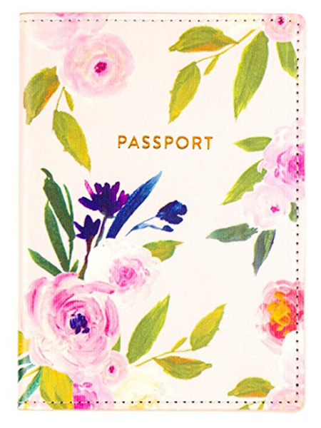 Pink Floral Passport Case with Rose Gold Text